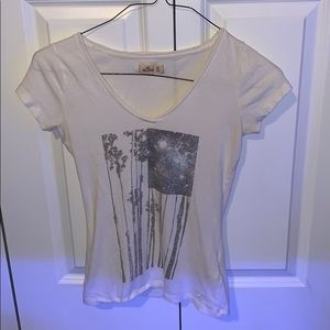 Hollister White American Flag V Neck